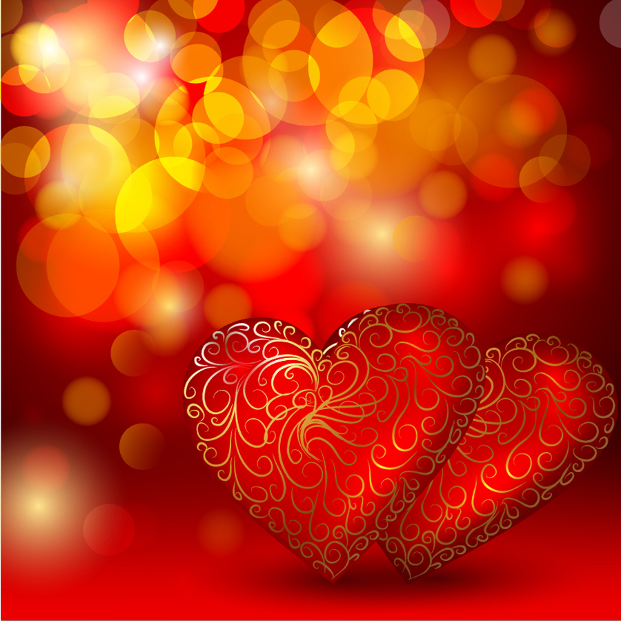 輝くハートのバレンタインデー背景 bright heart Valentines Day background イラスト素材